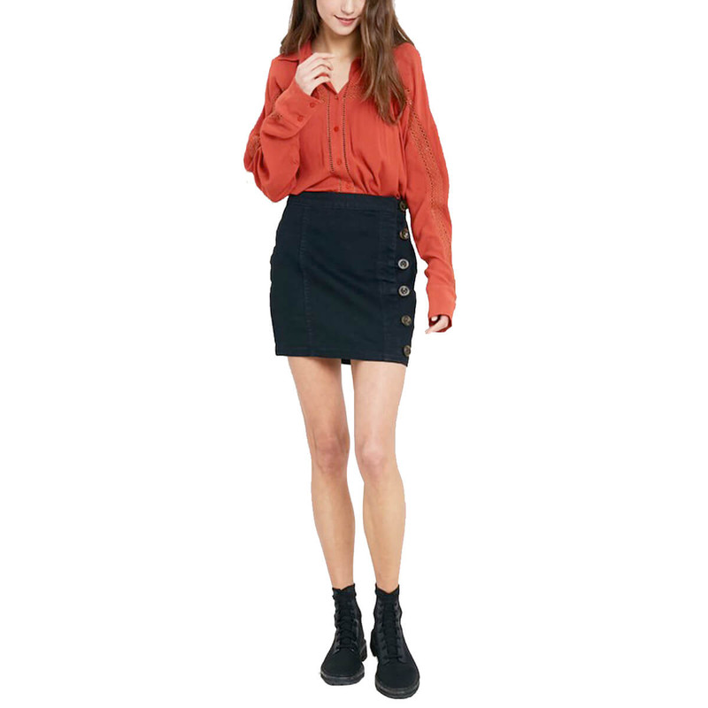 Buttoned Up Beauty Skirt in Black Color