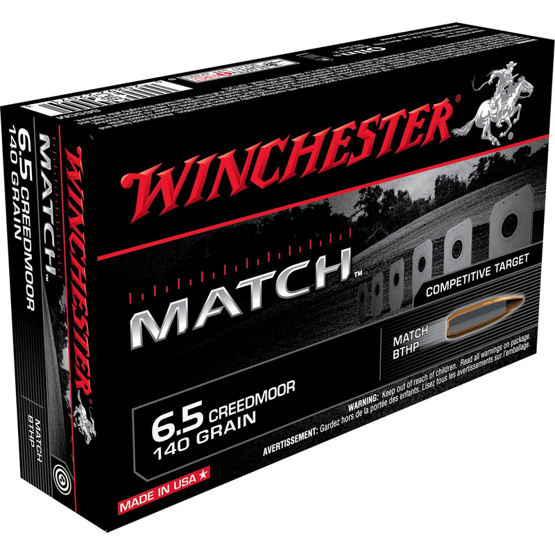 Winchester 6.5 Creedmoor 140 Grain Boat Tail HP Match 20 Rd