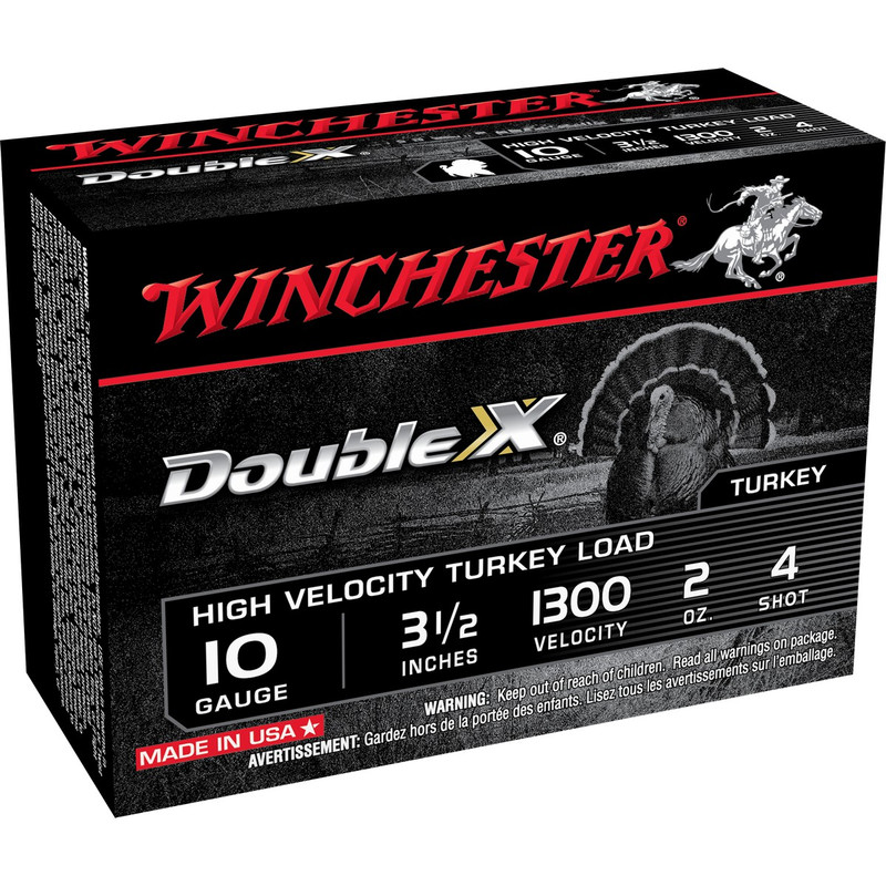 "Winchester Double X Turkey 10 Ga 3 1/2"" 2 Oz 10 Rd in Shot Size 4 Ammo Size"