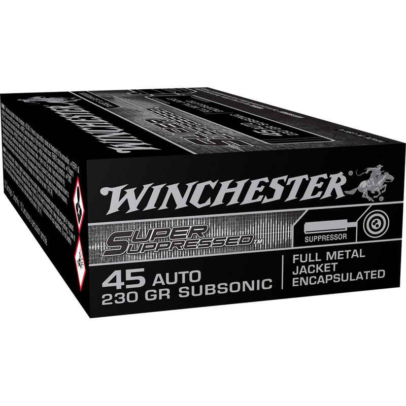 Winchester Super Suppressed 45 ACP 230 Grain FMJ 50 Rd