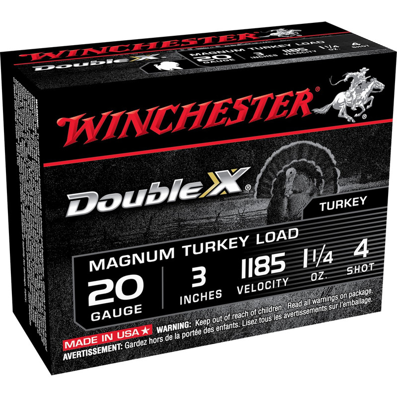 "Winchester Double X Magnum Turkey 20 Ga 3"" 1-1/4 Oz - Box in Shot Size 4 Ammo Size"