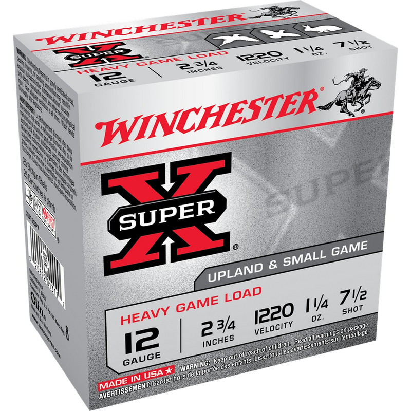 "Winchester Super X Heavy Game 12 Ga 2.75"" 1 1/4 Oz Case in Shot Size 7.5 Ammo Size"