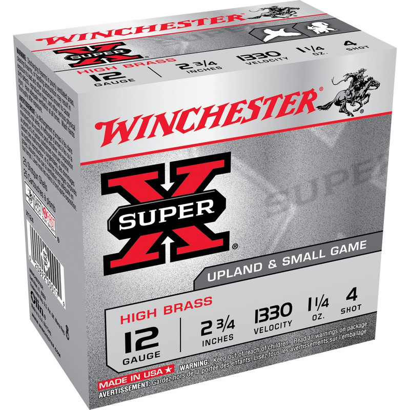 "Winchester High Brass 12 Ga 2 3/4"" 1-1/4 Oz Case 250 Rd in Shot Size 4 Ammo Size"