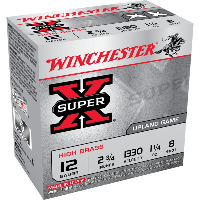 "Winchester High Brass 12 Ga 2 3/4"" 1-1/4 Oz Case 250 Rd in Shot Size 8 Ammo Size"