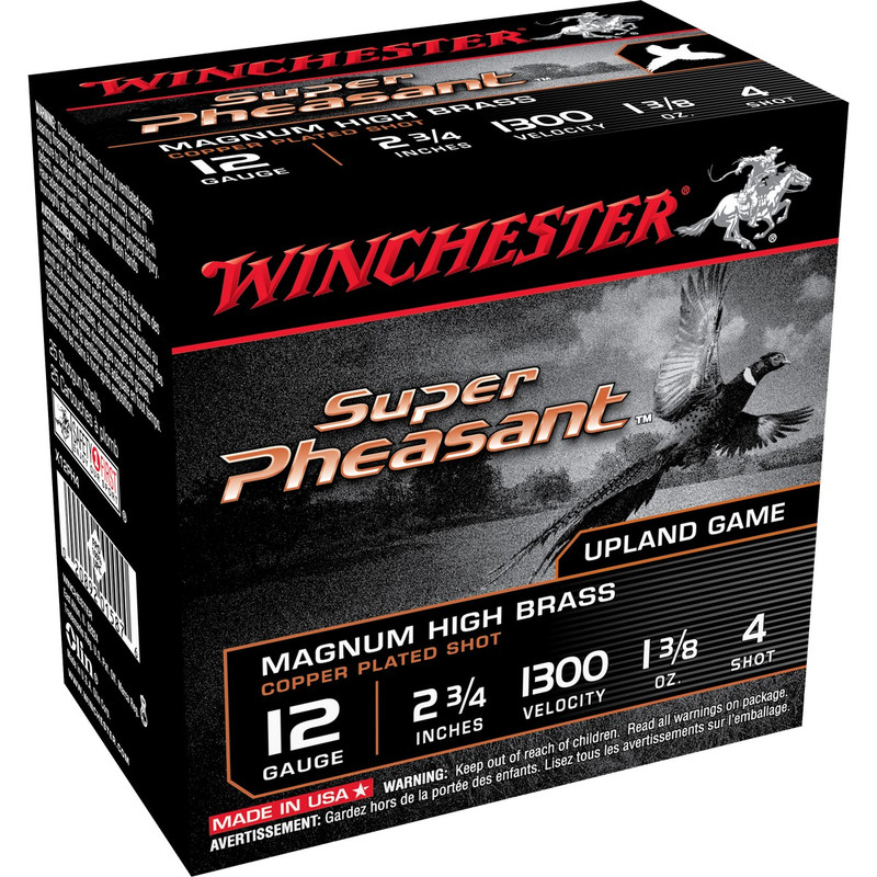 "Winchester X12PH Super Pheasant 12 Ga 2 3/4"" 1-3/8 Oz - Box in Shot Size 4 Ammo Size"