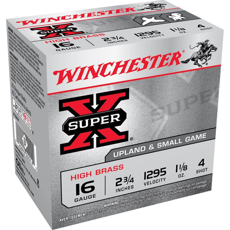 "Winchester X16H High Brass 16 Ga 2 3/4"" 1-1/8 Oz - Box in Shot Size 4 Ammo Size"