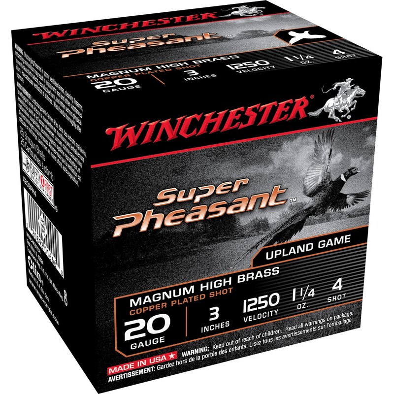 "Winchester X203PH Super Pheasant 20 Ga 3"" 1-1/4 Oz - Case in Shot Size 4 Ammo Size"