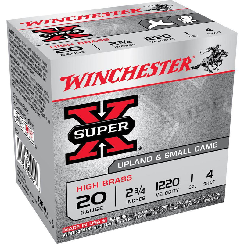 "Winchester X20 High Brass 20 Ga 2 3/4"" 1 Oz - Case in Shot Size 4 Ammo Size"