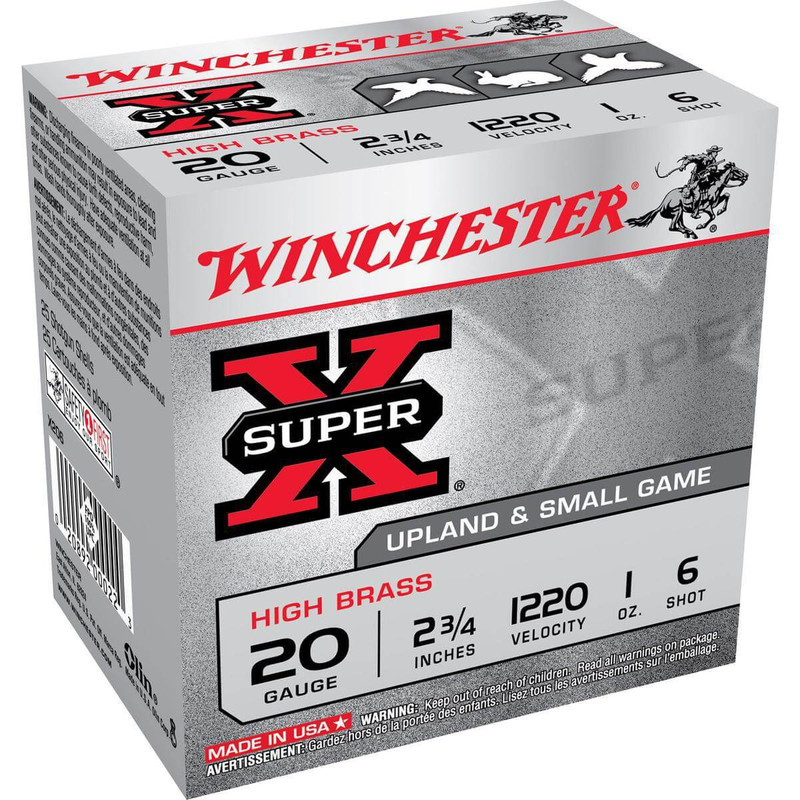 "Winchester X20 High Brass 20 Ga 2 3/4"" 1 Oz - Case in Shot Size 6 Ammo Size"