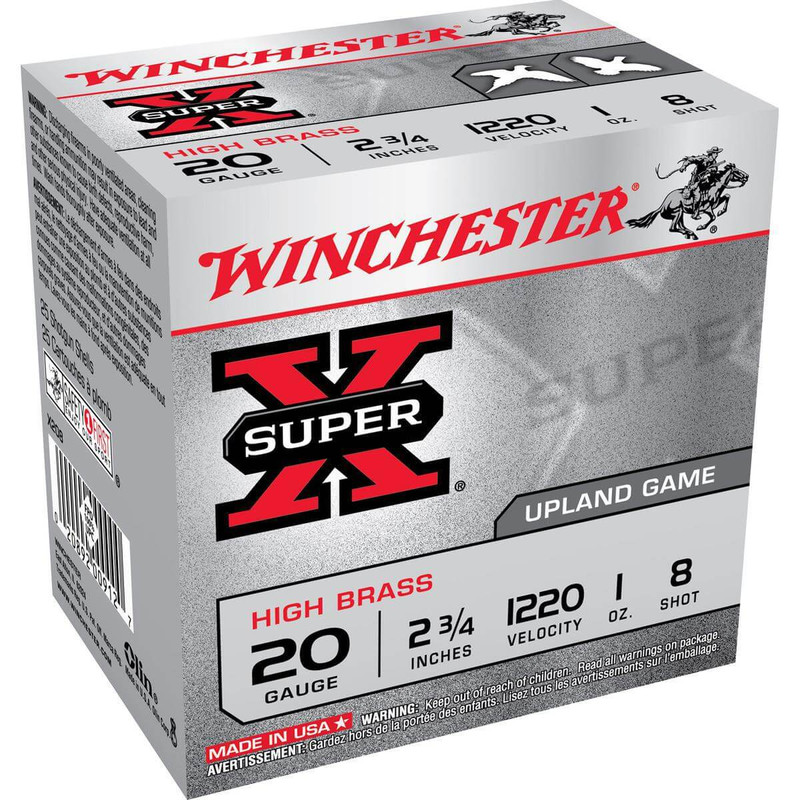 "Winchester X20 High Brass 20 Ga 2 3/4"" 1 Oz - Case in Shot Size 8 Ammo Size"