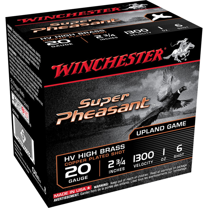 "Winchester X20PH Super Pheasant 20 Ga 2 3/4"" 1 Oz - Case in Shot Size 6 Ammo Size"