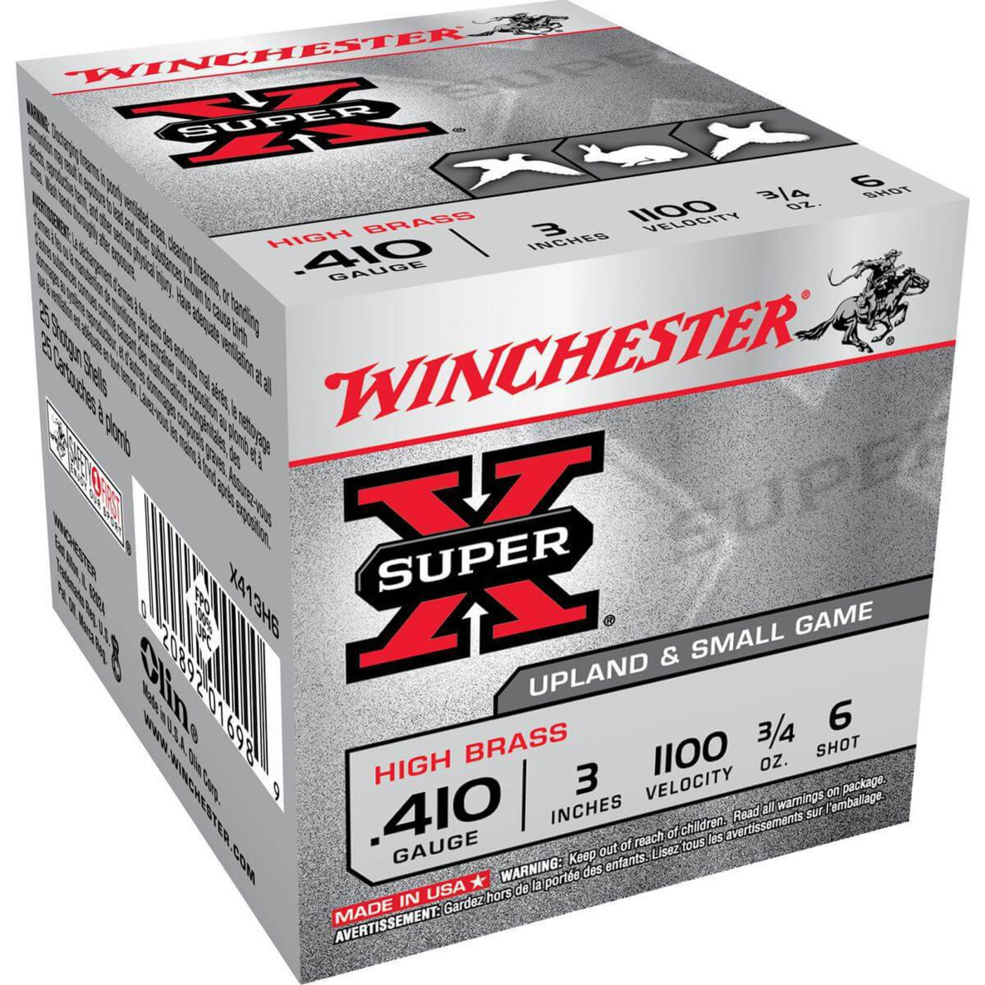 "Winchester X413H High Brass 410 Ga 3"" 3/4 Oz - Case in Shot Size 6 Ammo Size"