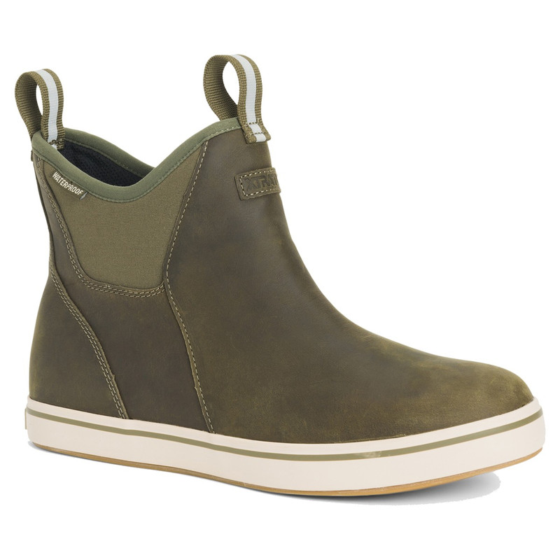 XTRATUF Men's 6 Inch Leather Ankle Deck Boots in Olive Color
