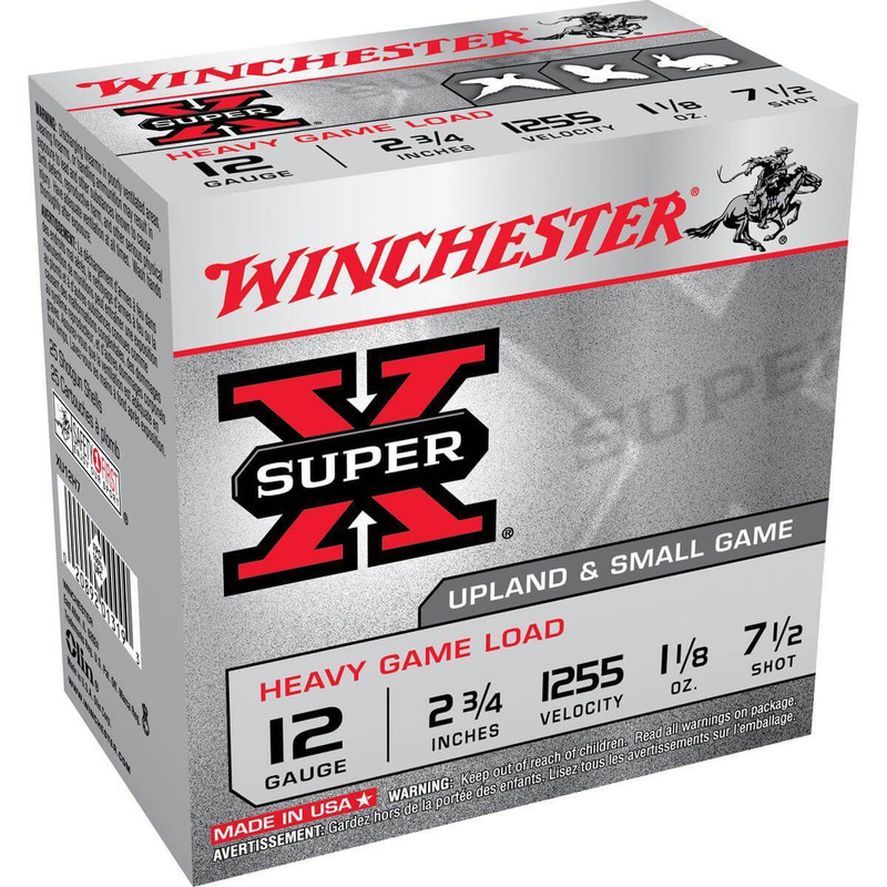 "Winchester XU12H Heavy Game 12 Ga 2 3/4"" 1-1/8 Oz - Box in Shot Size 7.5 Ammo Size"