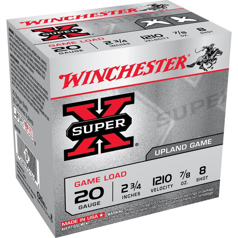 "Winchester XU20 Heavy Game 20 Ga 2 3/4"" 7/8 Oz - Case in Shot Size 8 Ammo Size"