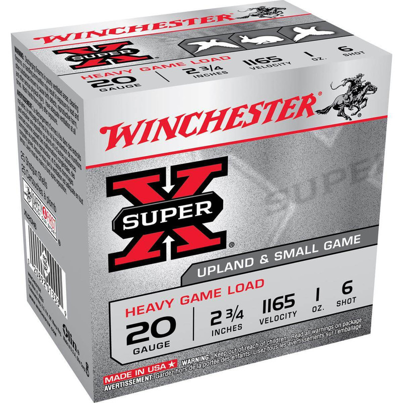 "Winchester XU20H Heavy Game 20 Ga 2 3/4"" 1 Oz - Box in Shot Size 6 Ammo Size"