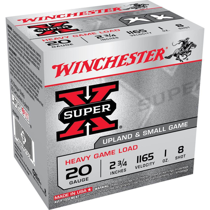 "Winchester XU20H Heavy Game 20 Ga 2 3/4"" 1 Oz - Box in Shot Size 8 Ammo Size"