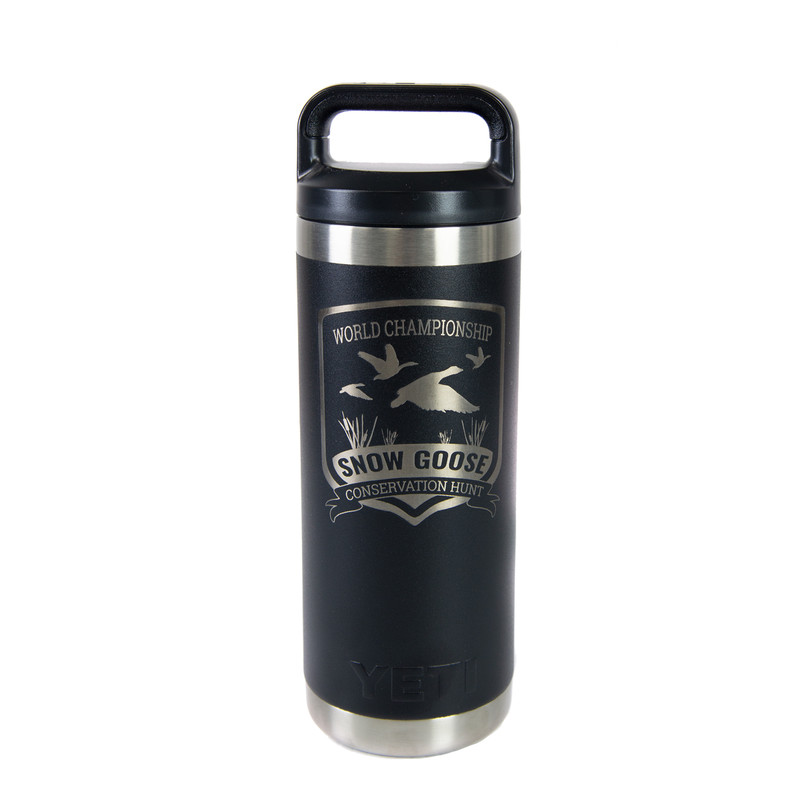 Yeti Rambler 18 Ounce Bottle - Snow Goose Conservation Hunt in Black Color