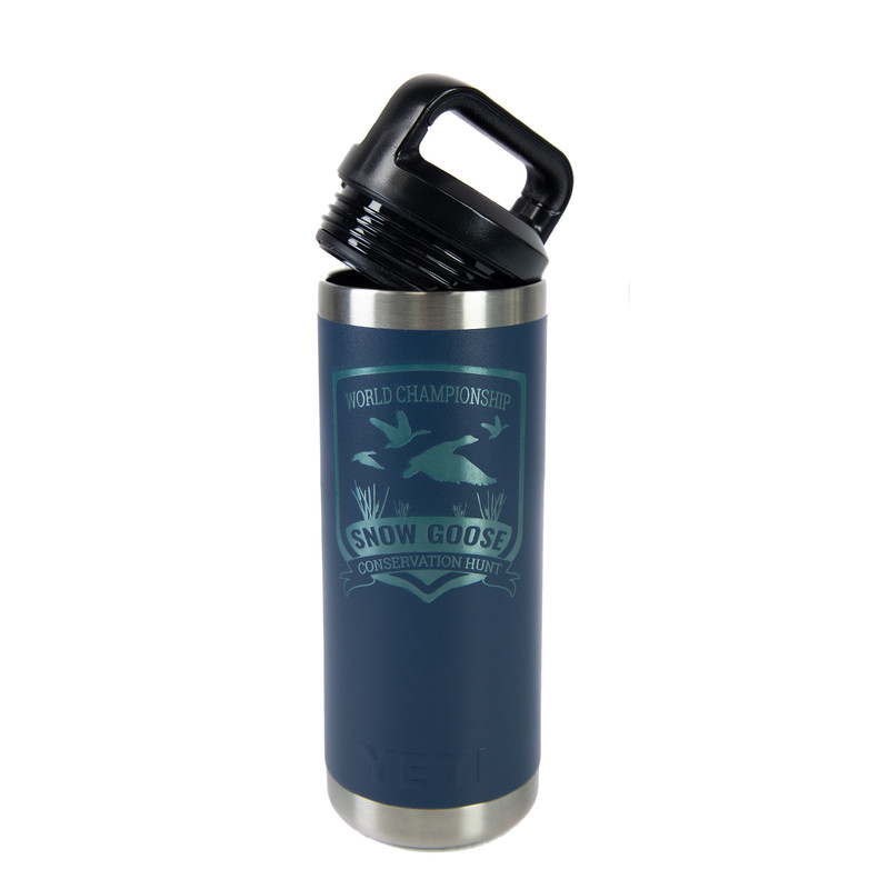 Yeti Rambler 18 Ounce Bottle - Snow Goose Conservation Hunt in Blue Color