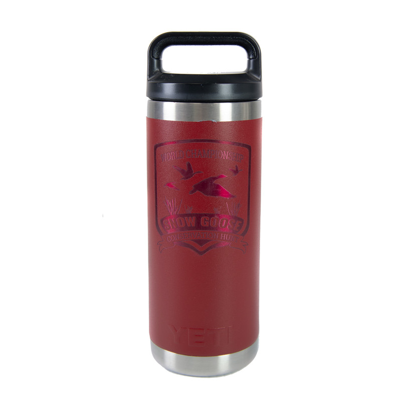 Yeti Rambler 18 Ounce Bottle - Snow Goose Conservation Hunt in Red Color