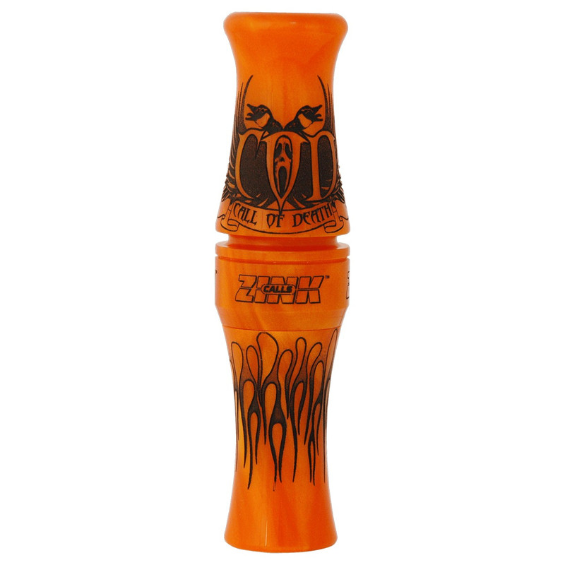 Zink Call Of Death Short Reed Goose Call in Orange Marbleade Color