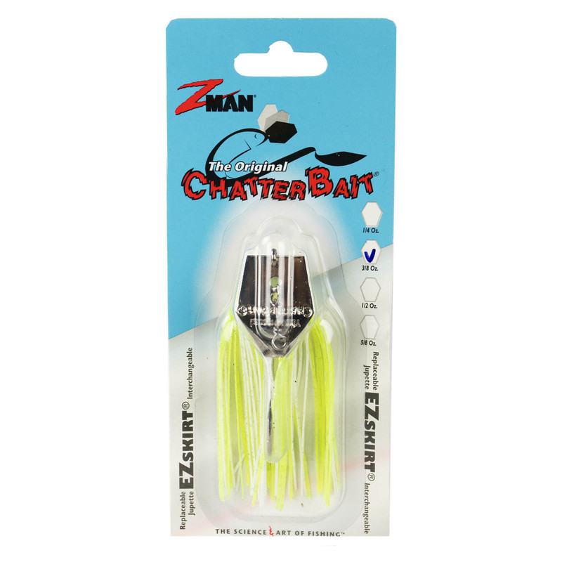 Z-Man The Original ChatterBait Fishing Lure - 3/8oz in Chartreuse White Color