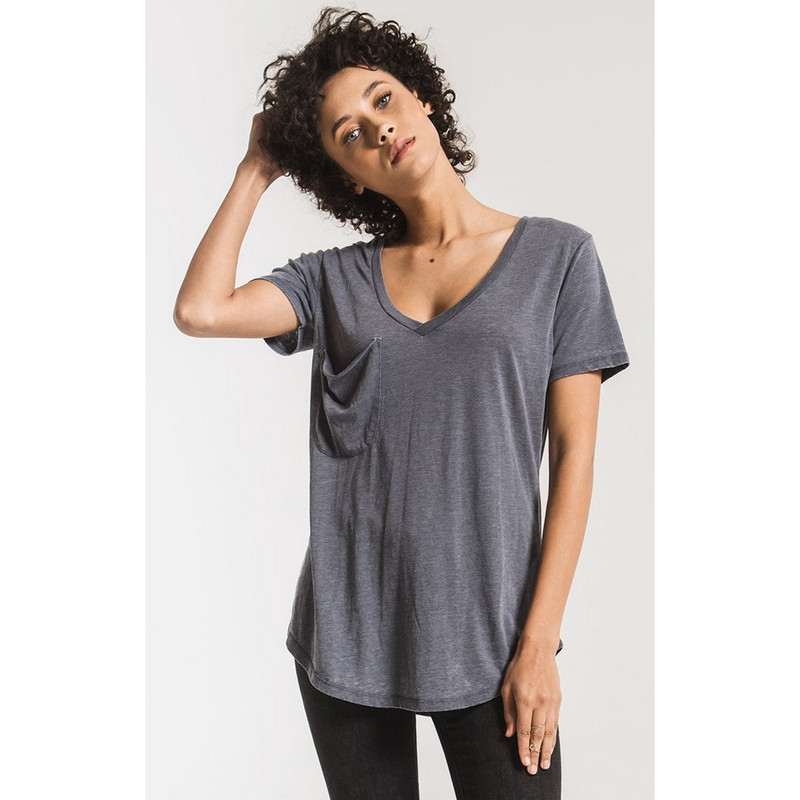 Z Supply The Pocket Tee in Storm Grey Color