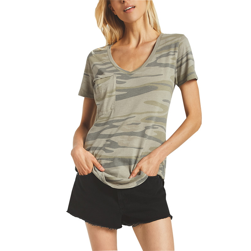 Z Supply Camo Pocket Tee in Light Sage