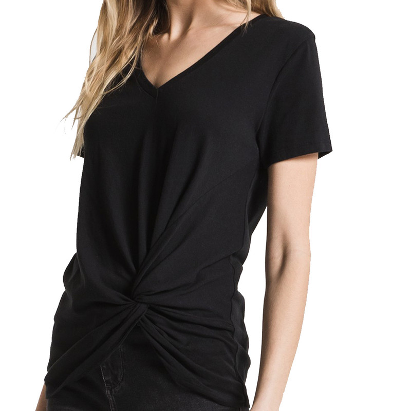 Z Supply The Twist Front Tee in Black Color