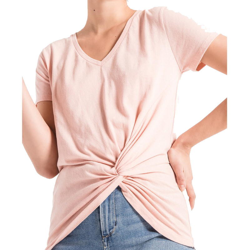 Z Supply The Twist Front Tee in Pink Dust Color