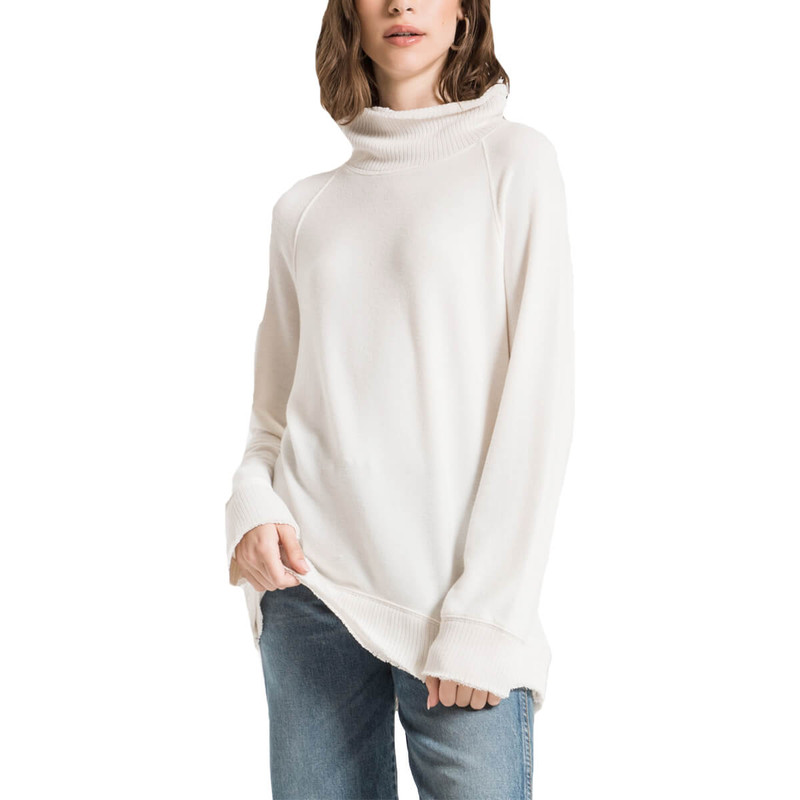 Z Supply The Soft Spun Mock Neck Pullover in Champagne Mist Color