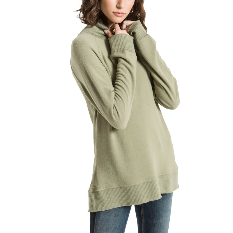 Z Supply The Soft Spun Mock Neck Pullover in Oil Green Color