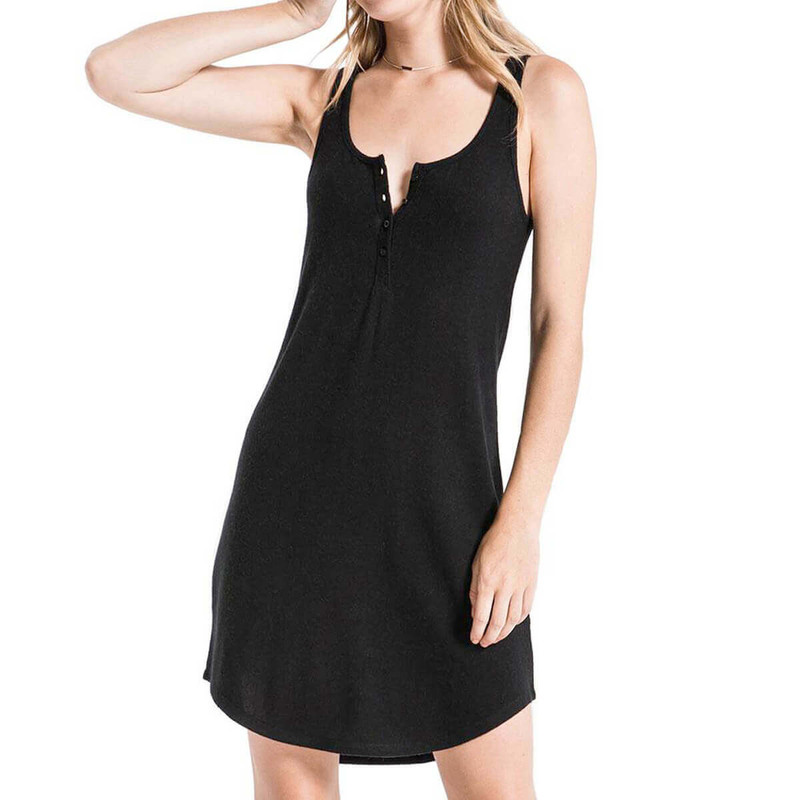 The Sweater Henley Tank Dress in Black Color