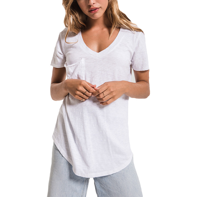 Z Supply The Cotton Slub Pocket Tee in White Color