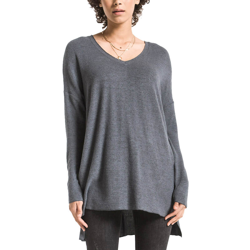 Z Supply The Marled Sweater Knit V-Neck Tunic in Storm Grey Color