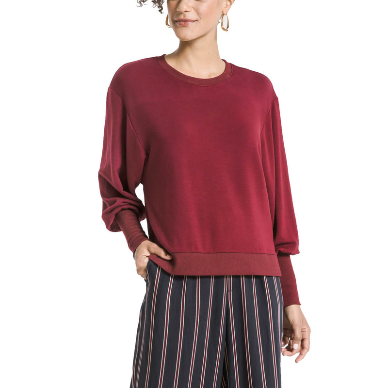 Z Supply Premium Fleece Puff Sleeve Top in Cabernet Color
