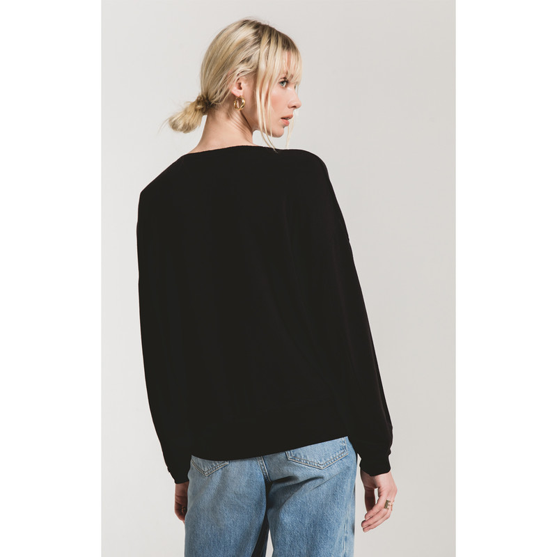 Z Supply The Premium Fleece V-Neck Pullover in Black Color