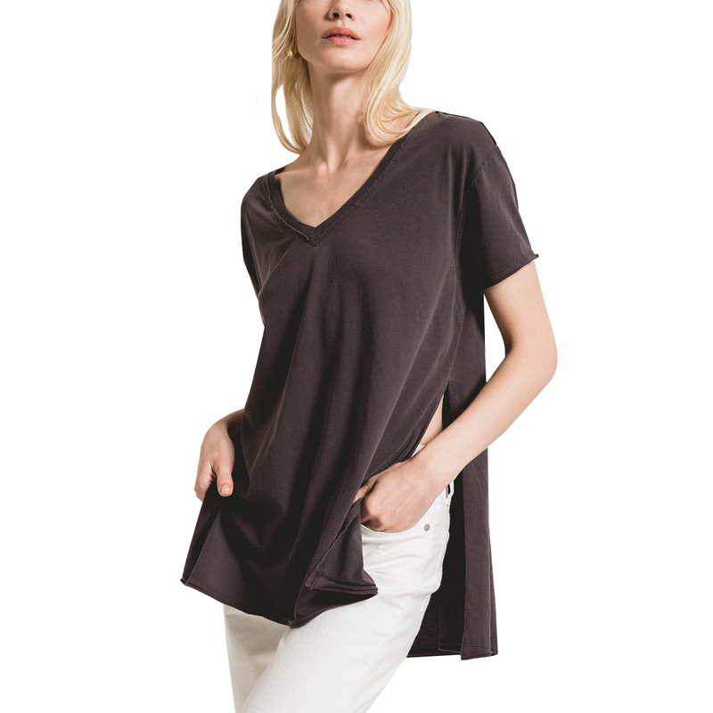 Z Supply Organic Cotton Sideslit Tunic in Graphite Color