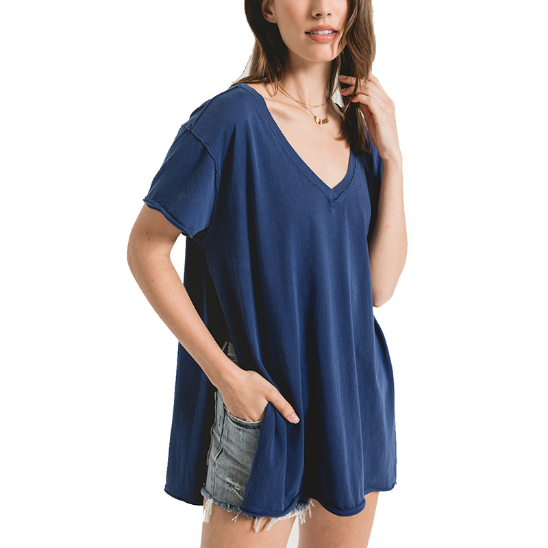 Z Supply Organic Cotton Sideslit Tunic in Indigo Blue Color