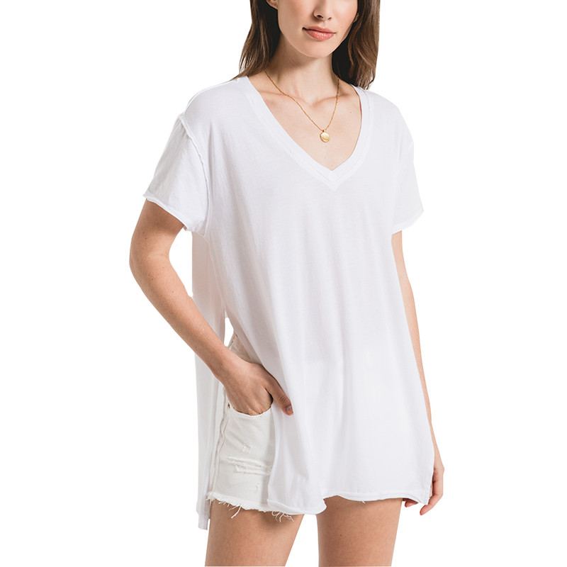 Z Supply Organic Cotton Sideslit Tunic in White Color