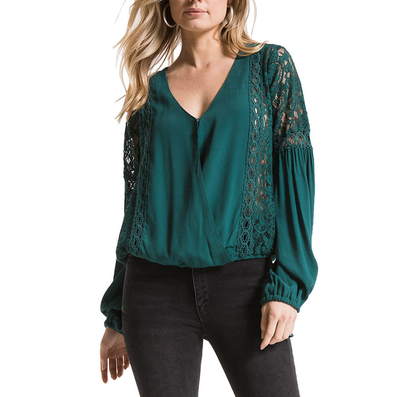 Black Swan Loma Blouse in Balsam Green Color