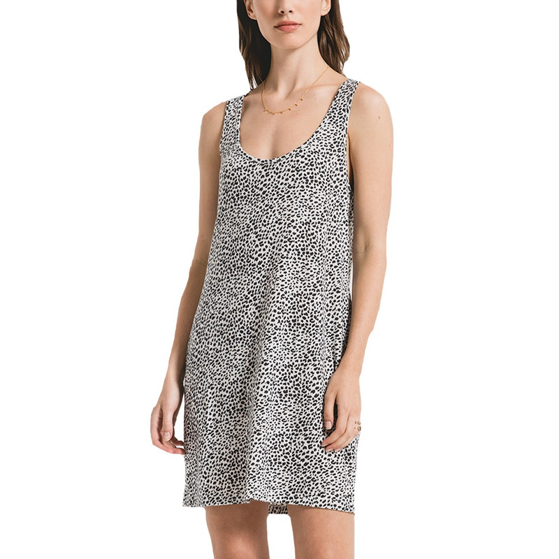 Z Supply The Mini Leopard Dress in Offwhite