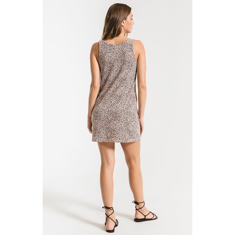Z Supply The Mini Leopard Dress in Pale Blush Color