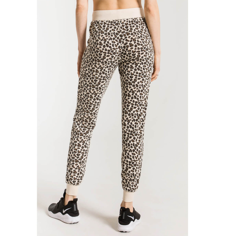 Z Supply Multi Leopard Jogger Pant in Natural Color