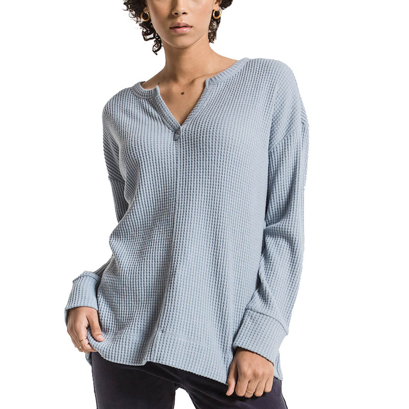Z Supply Split Neck Waffle Thermal in Ashley Blue Color