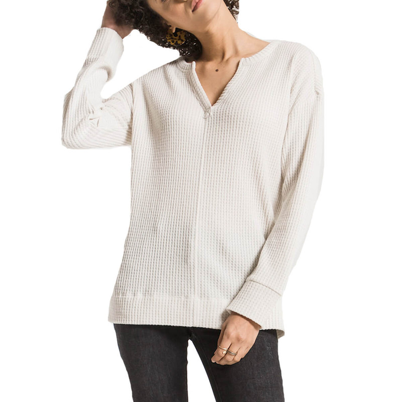 Z Supply Split Neck Waffle Thermal in Champagne Mist Color