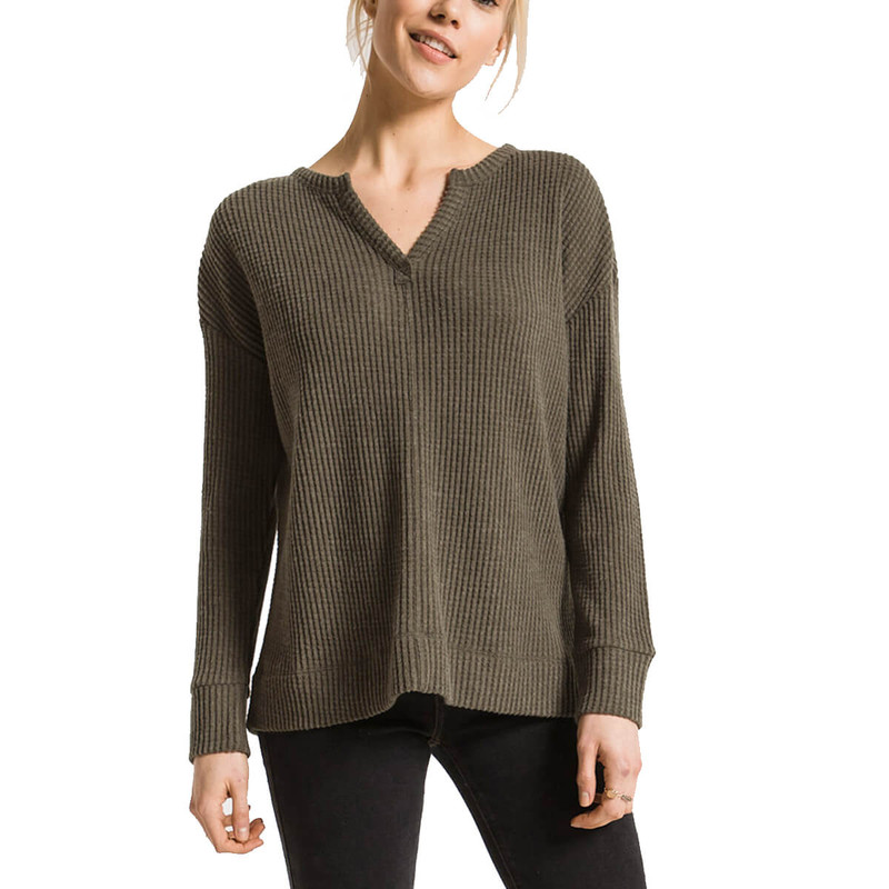 Z Supply Split Neck Waffle Thermal in Forest Night Color