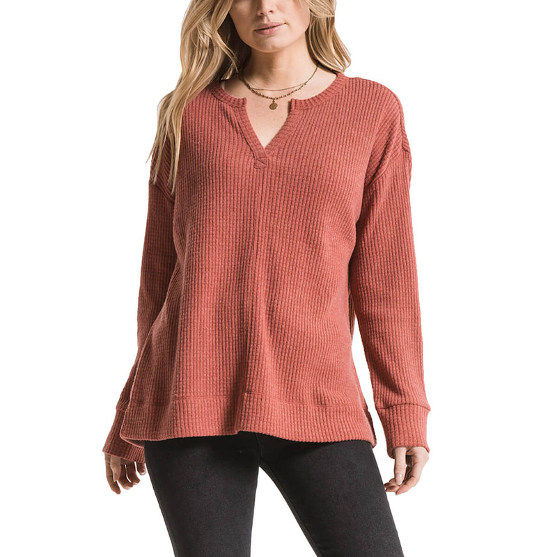 Z Supply Split Neck Waffle Thermal in Mesa Red Color