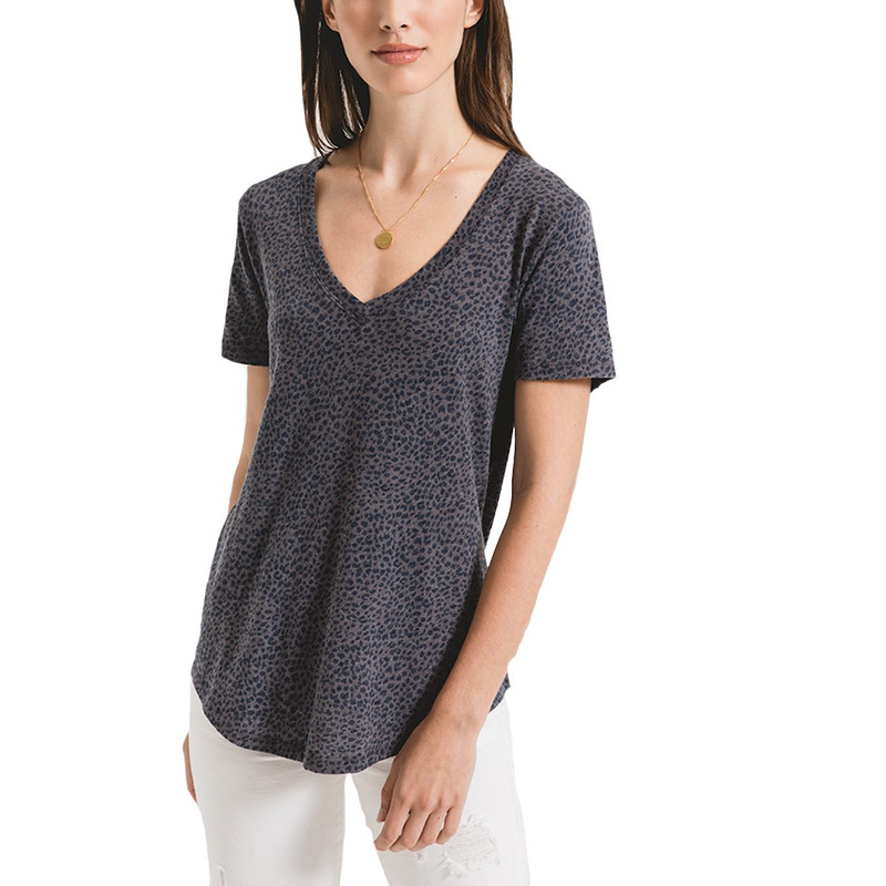 Z Supply The Mini Leopard V-Neck in Charcoal Grey Color